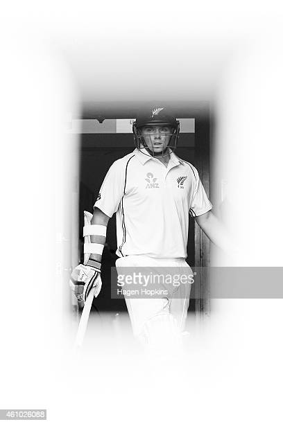 Tom Latham of New Zealand takes the field during day three of the Second Test match between New Zealand and Sri Lanka at Basin Reserve on January 5,...