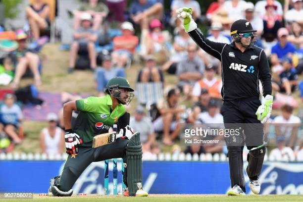 Tom Latham of New Zealand unsuccessfully appeals for the wicket of Hasan Ali of Pakistan during the second match in the One Day International series...