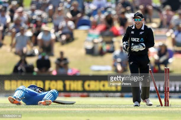 Tom Latham of the Black Caps celebrates the run out of Prithvi Shaw of India during game three of the One Day International Series between New...
