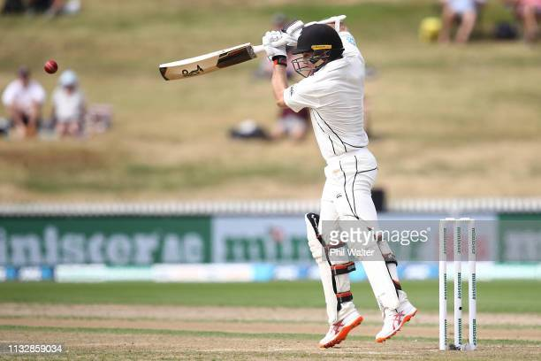 Tom Lathqm of New Zealand bats during day two of the First Test match in the series between New Zealand and Bangladesh at Seddon Park on March 01...