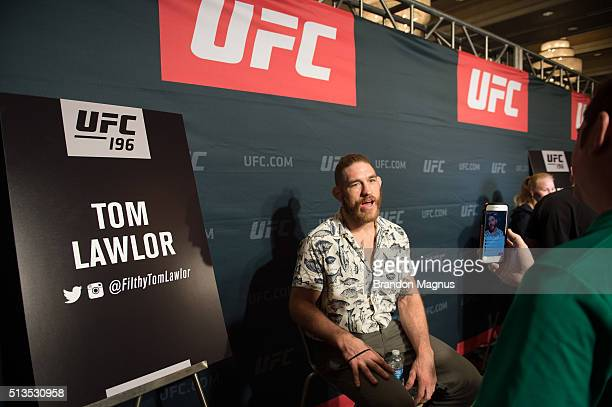 Tom Lawlor speaks to the media during the UFC 196 Ultimate Media Day in the MGM Grand Hotel/Casino on March 3, 2016 in Las Vegas, Nevada.