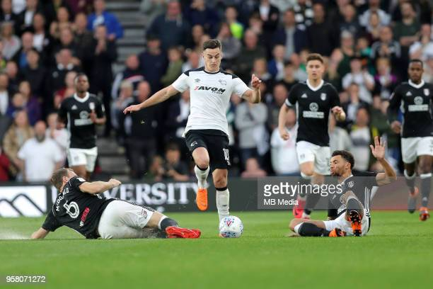 Tom Lawrence evades a tackle during the Sky Bet Championship Play Off Semi FinalFirst Leg between Derby County and Fulham on May 11 2018 at Pride...