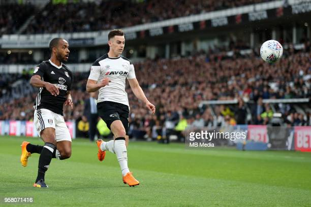Tom Lawrence in a chase for the ball during the Sky Bet Championship Play Off Semi FinalFirst Leg between Derby County and Fulham on May 11 2018 at...