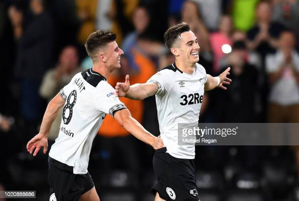 Tom Lawrence of Derby celebrates scoring the second goal with team mate Mason Mount during the Sky Bet Championship match between Derby County v...