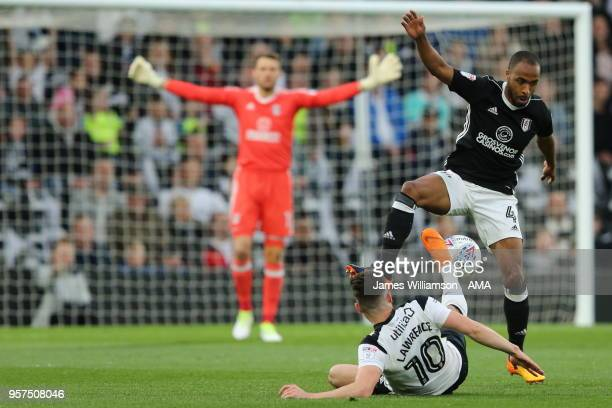 Tom Lawrence of Derby County and Denis Odoi of Fulham during the Sky Bet Championship Play Off Semi FinalFirst Leg match between Derby County and...