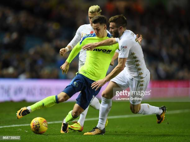 Tom Lawrence of Derby County battles for the ball with Stuart Dallas of Leeds United during the Sky Bet Championship match between Leeds United and...