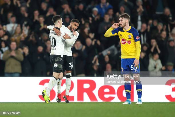 Tom Lawrence of Derby County celebrates after scoring a goal to make it 22 during the FA Cup Third Round match between Derby County and Southampton...