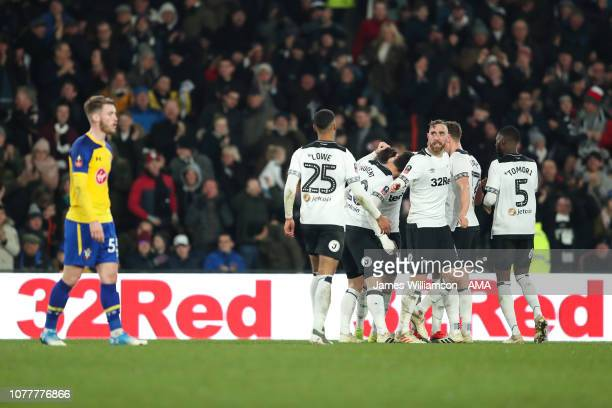 Tom Lawrence of Derby County celebrates after scoring a goal to make it 2-2 during the FA Cup Third Round match between Derby County and Southampton...