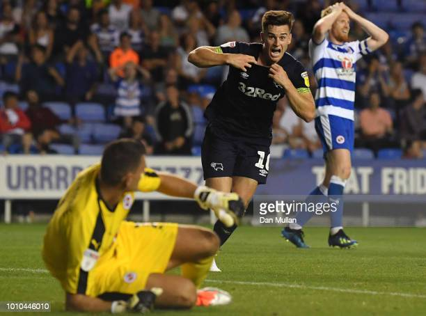 Tom Lawrence of Derby County celebrates after scoring his team's second goal during the Sky Bet Championship match between Reading and Derby County...