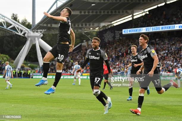 Tom Lawrence of Derby County celebrates after scoring his teams second goal of the match during the Sky Bet Championship match between Huddersfield...