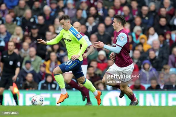 Aston Villa v Derby County Sky Bet ChampionshipnBIRMINGHAM ENGLAND APRIL 28 Tom Lawrence of Derby County gets away from Aston Villa's Jack Grealish