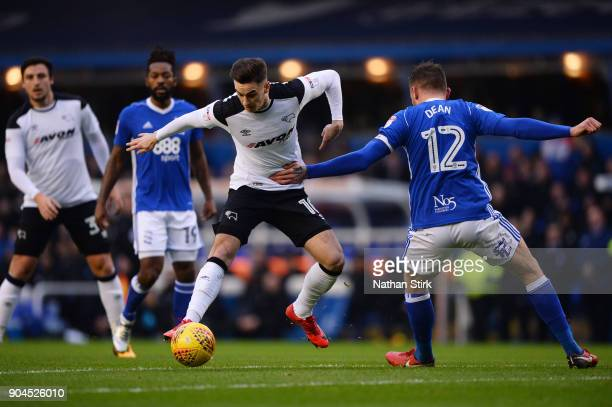 Tom Lawrence of Derby County in action during the Sky Bet Championship match between Birmingham City and Derby County at St Andrews on January 13...