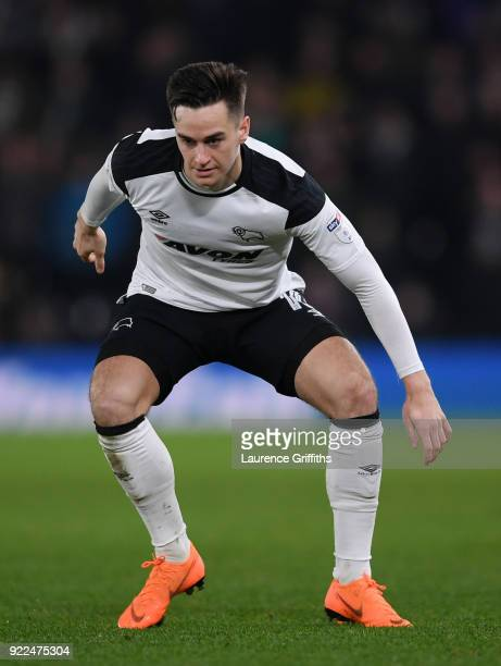 Tom Lawrence of Derby County in action during the Sky Bet Championship match between Derby County and Leeds United at iPro Stadium on February 21...