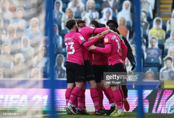 Tom Lawrence of Derby County is congratulated after scoring the opening goal during the Sky Bet Championship match between Blackburn Rovers and Derby...