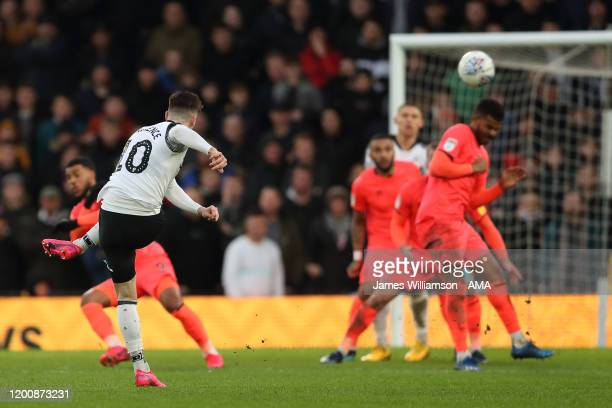 Tom Lawrence of Derby County scores a goal to make it 1-0 during the Sky Bet Championship match between Derby County and Huddersfield Town at Pride...