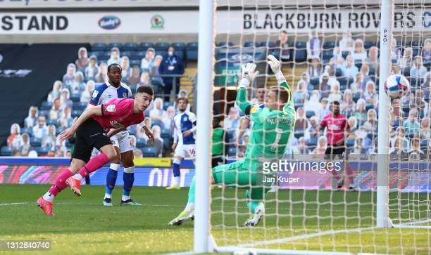 Tom Lawrence of Derby County scores the opening goal during the Sky Bet Championship match between Blackburn Rovers and Derby County at Ewood Park on...