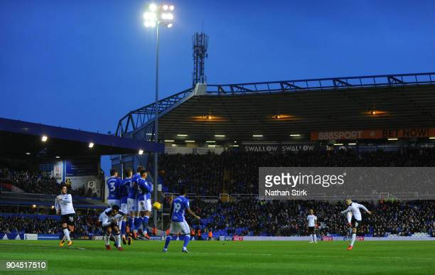 Tom Lawrence of Derby County takes a free kick during the Sky Bet Championship match between Birmingham City and Derby County at St Andrews on...