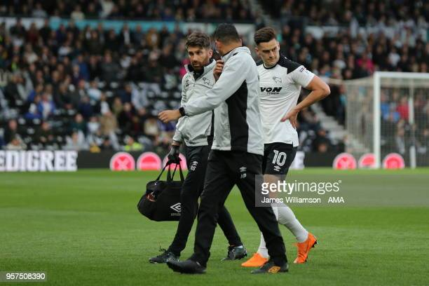 Tom Lawrence of Derby County walks off the pitch after receiving treatment during the Sky Bet Championship Play Off Semi FinalFirst Leg match between...
