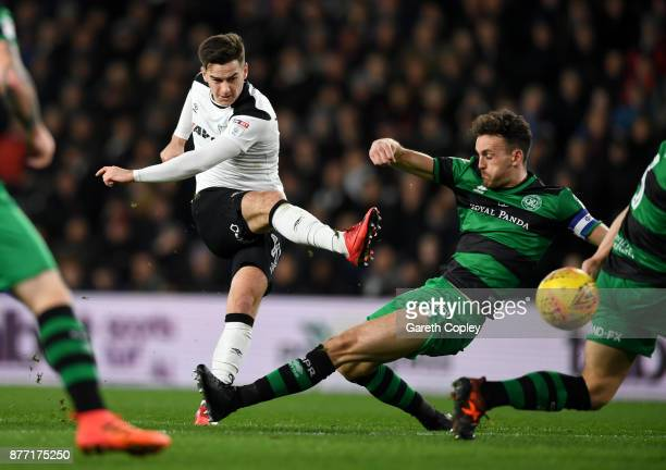 Tom Lawrence of Derby scores his team's second goal during the Sky Bet Championship match between Derby County and Queens Park Rangers at iPro...