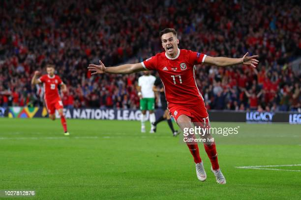 Tom Lawrence of Wales celebrates after scoring his team's first goal during the UEFA Nations League B group four match between Wales and Republic of...