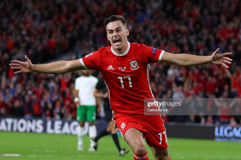 Tom Lawrence of Wales celebrates after scoring his team's first goal during the UEFA Nations League B group four match between Wales and Republic of Ireland at Cardiff City Stadium on September 6, 2018 in Cardiff, United Kingdom.