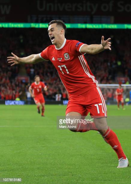 Tom Lawrence of Wales celebrates scoring the opening goal during the UEFA Nations League B group four match between Wales and Ireland at Cardiff City...