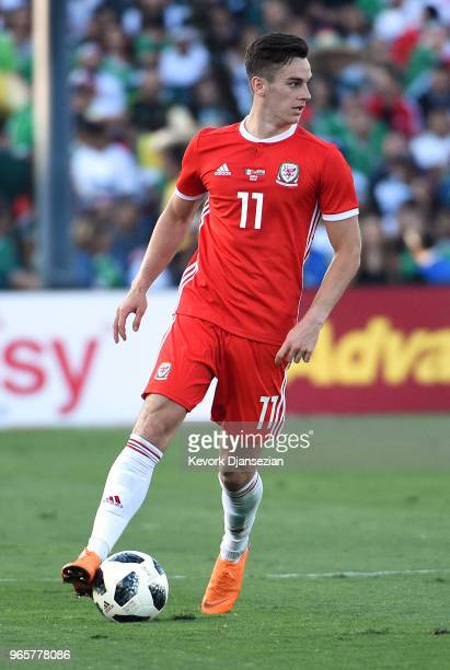 Tom Lawrence of Wales in action against Mexico during the first half of their friendly international soccer match at the Rose Bowl on May 28 2018 in...