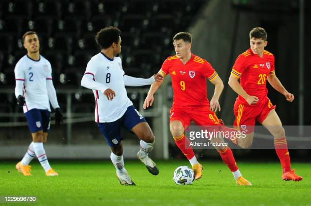 Tom Lawrence of Wales in action during the international friendly match between Wales and USA at the Liberty Stadium on November 12, 2020 in Swansea,...