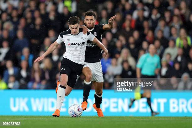 Tom Lawrence tries to go on a run but is pulled back during the Sky Bet Championship Play Off Semi FinalFirst Leg between Derby County and Fulham on...