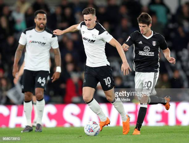 Tom Lawrence tries to go on a run during the Sky Bet Championship Play Off Semi FinalFirst Leg between Derby County and Fulham on May 11 2018 at...