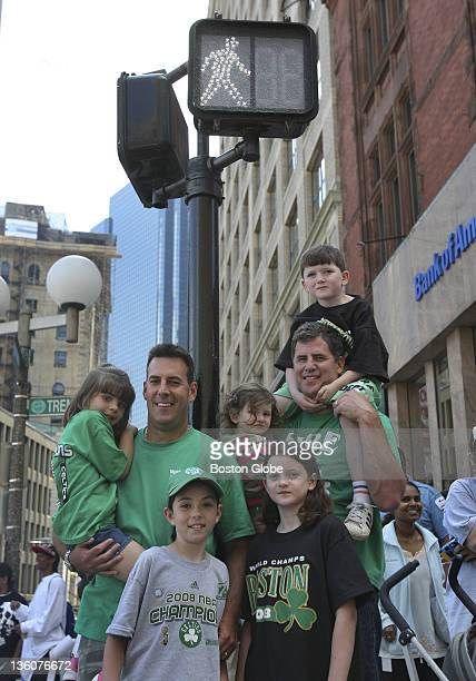 Tom Leahy left and Brian Purcell right were photographed sitting on top of this pole 17 years ago when the Celtics last won the title They returned...