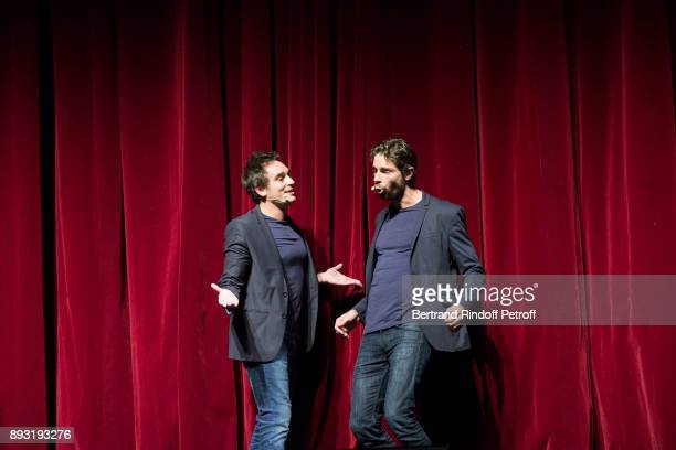 Tom Leeb and Kevin Levy perform during 'Michel Leeb 40 ans' Theater Show at Casino de Paris on December 14 2017 in Paris France