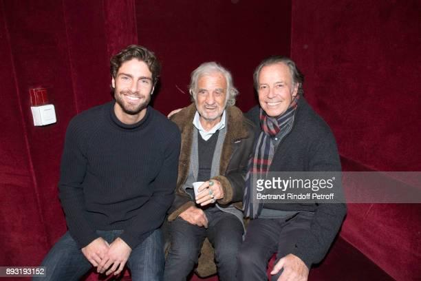 Tom Leeb JeanPaul Belmondo and Michel Leeb attend 'Michel Leeb 40 ans' Theater Show at Casino de Paris on December 14 2017 in Paris France