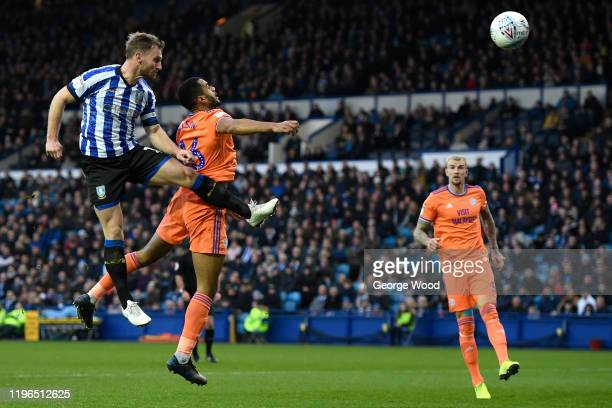 Tom Lees of Sheffield Wednesday scores his side's first goal during the Sky Bet Championship match between Sheffield Wednesday and Cardiff City at...