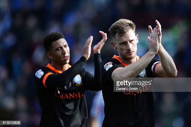 Tom Lees Sheffield Wednesday applaud the fans after their victory during the Sky Bet Championship match between Huddersfield Town and Sheffield...