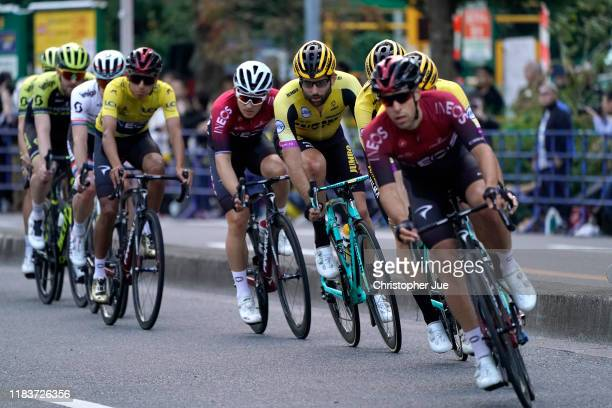 Tom Leezer of The Netherlands and Team Jumbo - Visma / Michal Kwiatkowski of Poland and Team INEOS / during the 7th Tour de France Saitama Criterium...