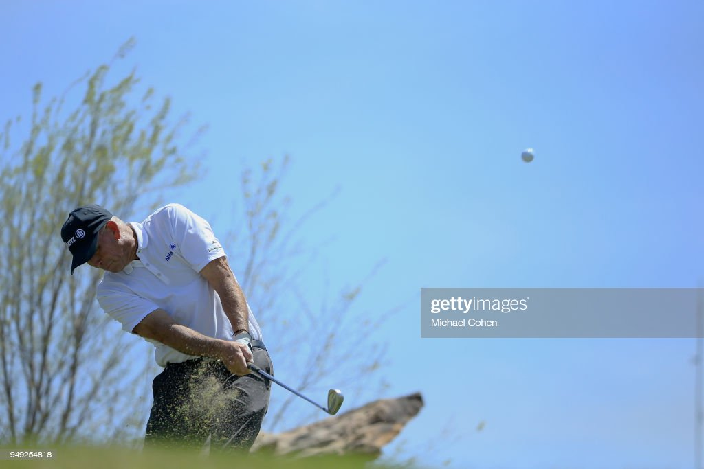 Tom Lehman hits his tee shot on the ninth hole during the second round of the PGA TOUR Champions Bass Pro Shops Legends of Golf at Big Cedar Lodge held at Top of the Rock on April 20, 2018 in Ridgedale, Missouri.