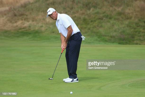 Tom Lehman of the United States on the second green during the first round of the 147th Open Championship at Carnoustie Golf Club on July 19 2018 in...