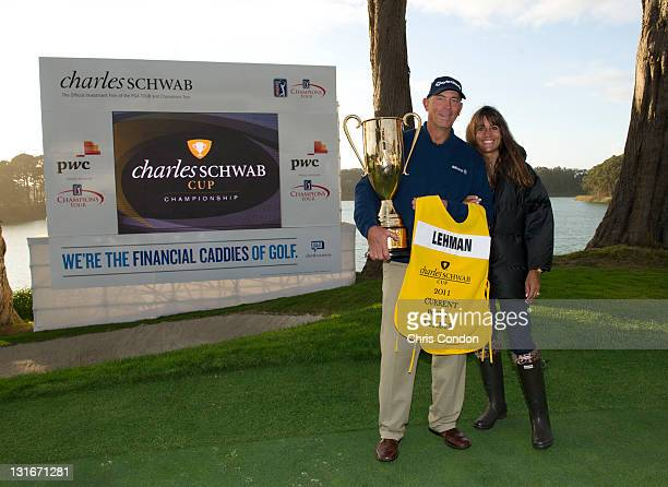 Tom Lehman poses with wife Melissa and the Schwab Cup after winning the season long competition at the Charles Schwab Cup Championship at TPC Harding...