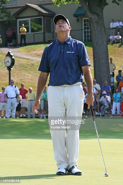 Tom Lehman reacts to missing his eagle putt on the 18th hole during the third round of the Constellation SENIOR PLAYERS Championship at Fox Chapel...