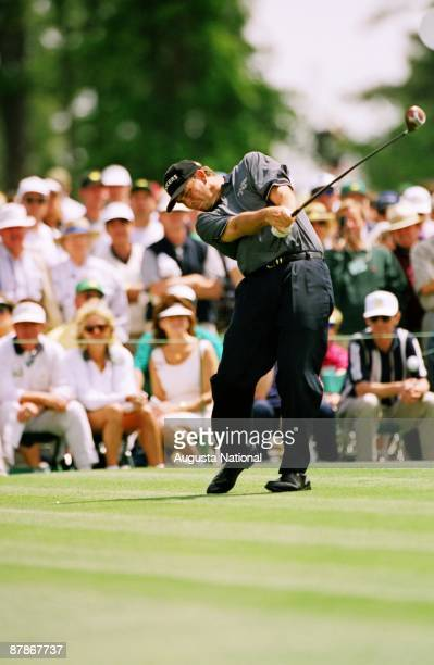 Tom Lehman tees off during the 1997 Masters Tournament at Augusta National Golf Club in April in Augusta Georgia