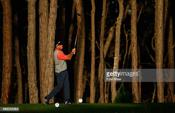 Tom Lehman tees off on the 12th hole during round one of the Nature Valley First Tee Open at the Poppy Hills Golf Course on September 25 2015 in...