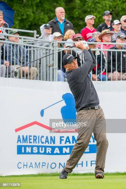 Tom Lehman tees off on the first tee during the American Family Insurance Championship Champions Tour golf tournament on June 22 2018 at University...