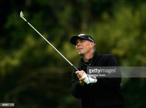 Tom Lehman watches his tee shot on the sixth hole during the first round of the Nissan Open on February 16 2006 at the Riviera Country Club in...