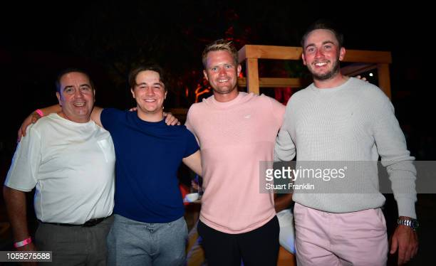 Tom Lewis of England and friends at the beach party after the first round of the Nedbank Golf Challenge at Gary Player CC on November 8 2018 in Sun...