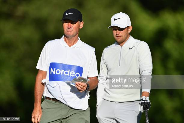 Tom Lewis of England and his caddie look on during day one of the Nordea Masters at Barseback Golf Country Club on June 1 2017 in Barsebackshamn...