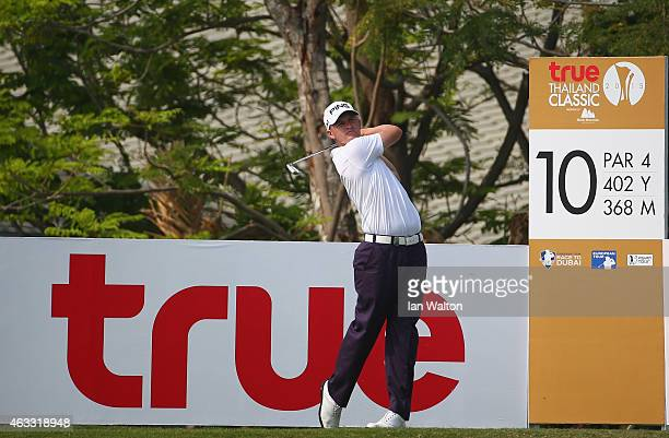 Tom Lewis of England in action during the second round of the 2015 True Thailand Classic at Black Mountain Golf Club on February 13 2015 in Hua Hin...