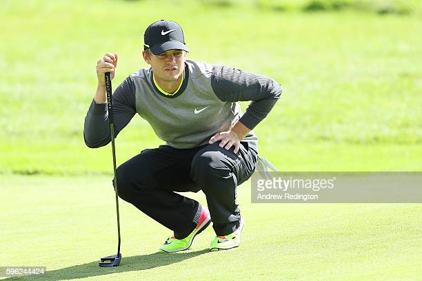 Tom Lewis of England lines up a putt on the 4th green during the third round of Made in Denmark at Himmerland Golf Spa Resort on August 27 2016 in...
