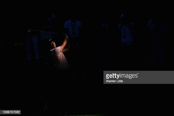 Tom Lewis of England plays his third shot on the 7th hole during the third round of the Turkish Airlines Open at Regnum Carya Golf Spa Resort on...