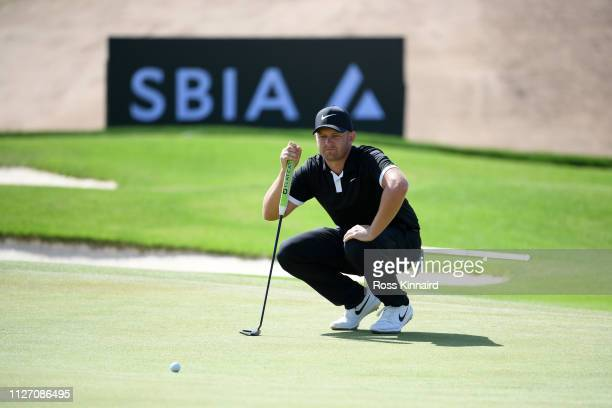 Tom Lewis of England putts on the seventh hol during Day four of the Saudi International at the Royal Greens Golf Country Club on February 03 2019 in...